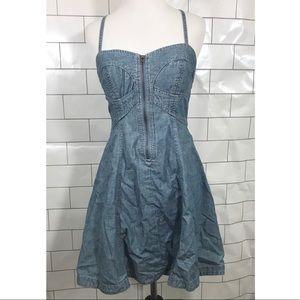 French Connection Denim Bustier Zipper Top Dress